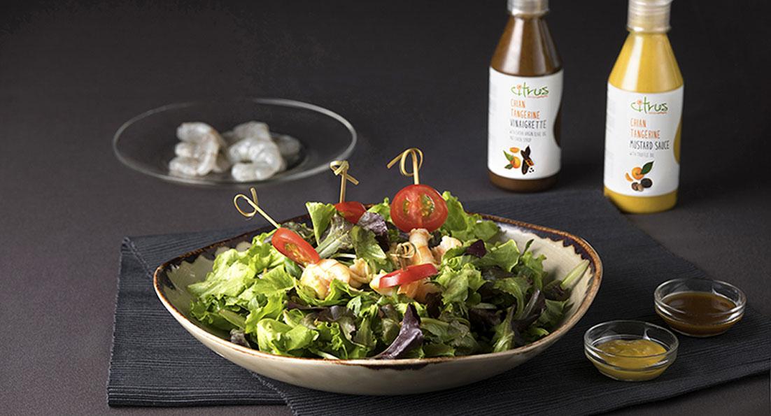 Ανάμεικτη σαλάτα με γαρίδες, Μουστάρδα & Βινεγκρέτ Citrus